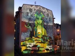 Kyiv mural light show. Maria and friends. Maria Miro